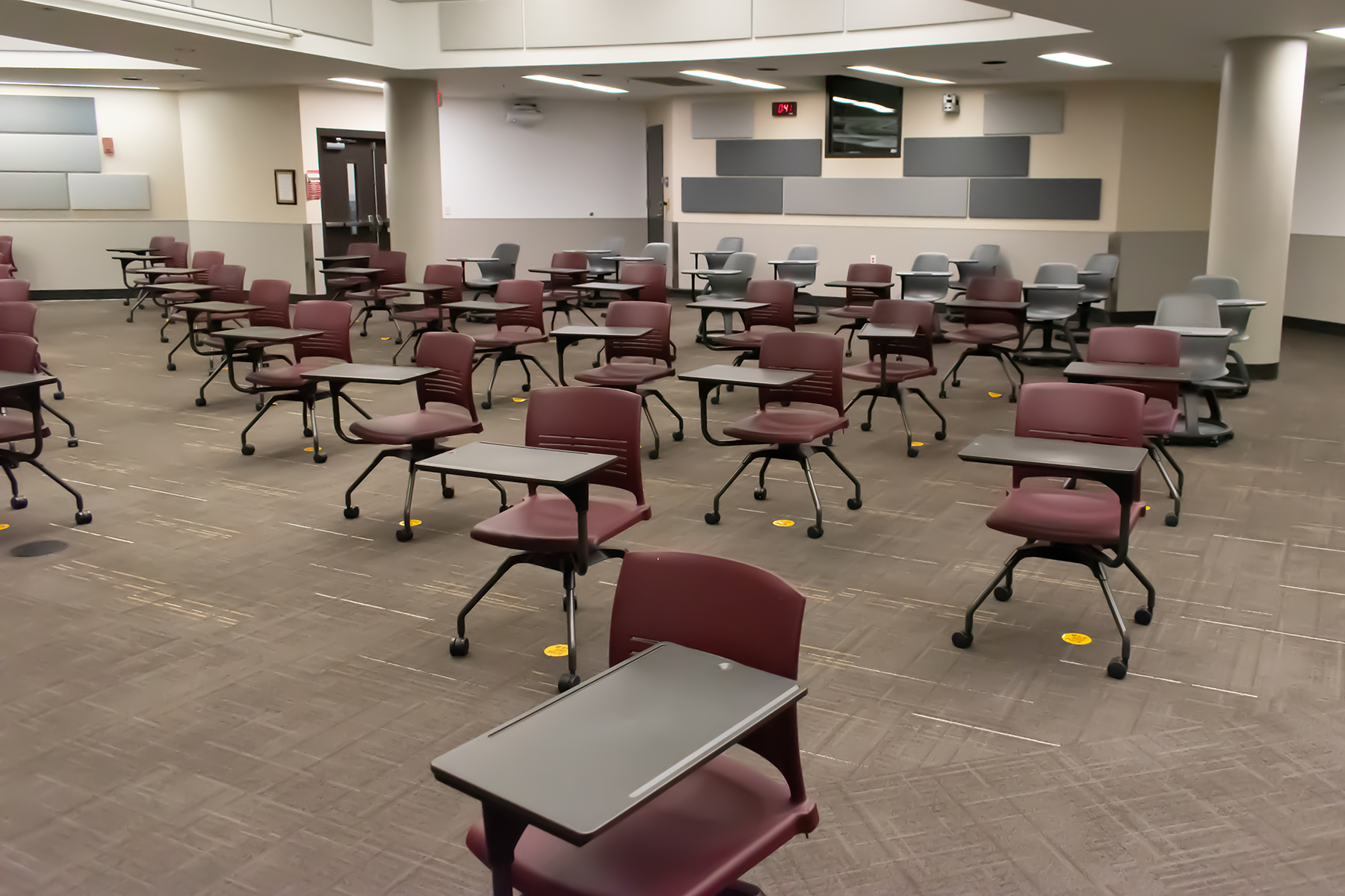 Recommendations from the CDC regarding modified layouts include spacing seating at least 6 feet apart when feasible. Credit: Image courtesy of TLC Engineering Solutions