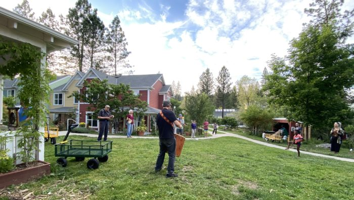 While not located on a college campus, Nevada City Cohousing is an example of what such communities look like and how they gather even while social distancing is in place.