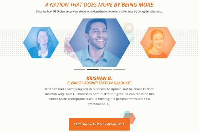 University of Florida Online's testimonials page highlights several graduates and their successes.