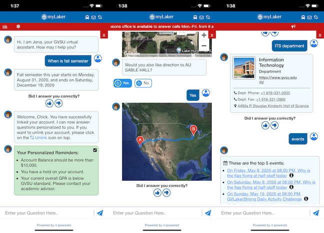 Grand Valley State University's myBlueLaker virtual assistant app aims to help students with answers to more than 7,000 questions. (Photos: n-Powered)