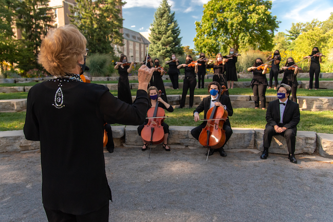 Nazareth College music faculty arranged smaller ensembles so students can social distance while performing and rehearse outside as weather allows.