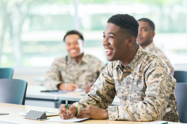 Cheerful student in military academy