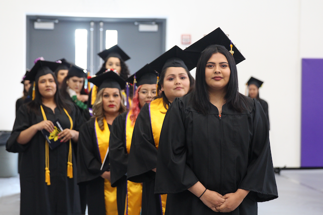 Community colleges such as San Jose City College will be a focus of the Biden-Harris administration. Here, graduates line up pre-COVID.