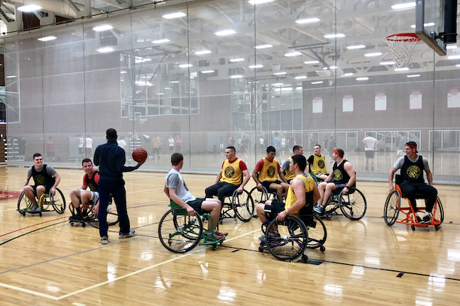 A rec sports wheelchair basketball game at Ohio State University.