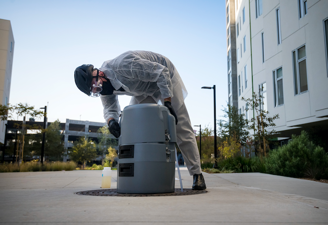Under the UC San Diego COVID-prevention program,the campus' wastewater early detection system grew from 6 to 52 testing personnel who cover more than 100 residential buildings.