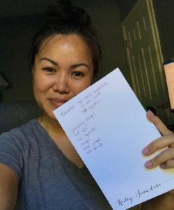 An Excelsior employee shows her workout log during a four-week employee competition of exercise, eating healthy, sharing gratitude and raising money for those impacted by heart disease.