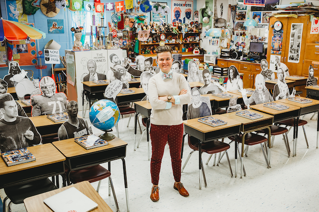 University of Kentucky graduate Whitney Walker has filled her high school classroom with life-sized cut-outs of Lin-Manuel Miranda, Michelle Obama and other luminaries.