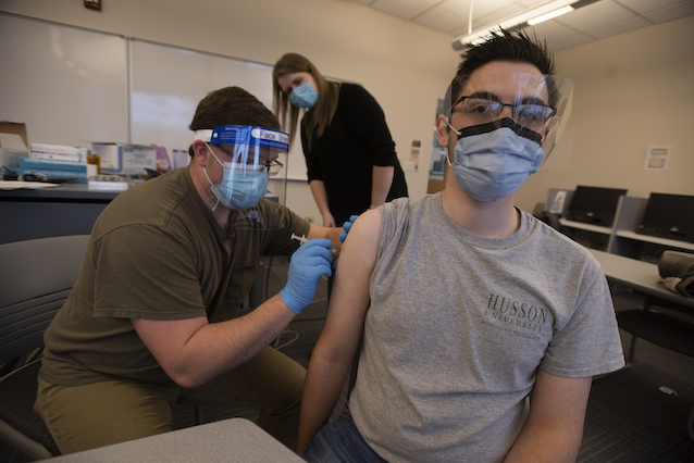 Husson University held its first COVID vaccination training for pharmacy workers on Jan. 9. (Photo: Kevin Bennet)
