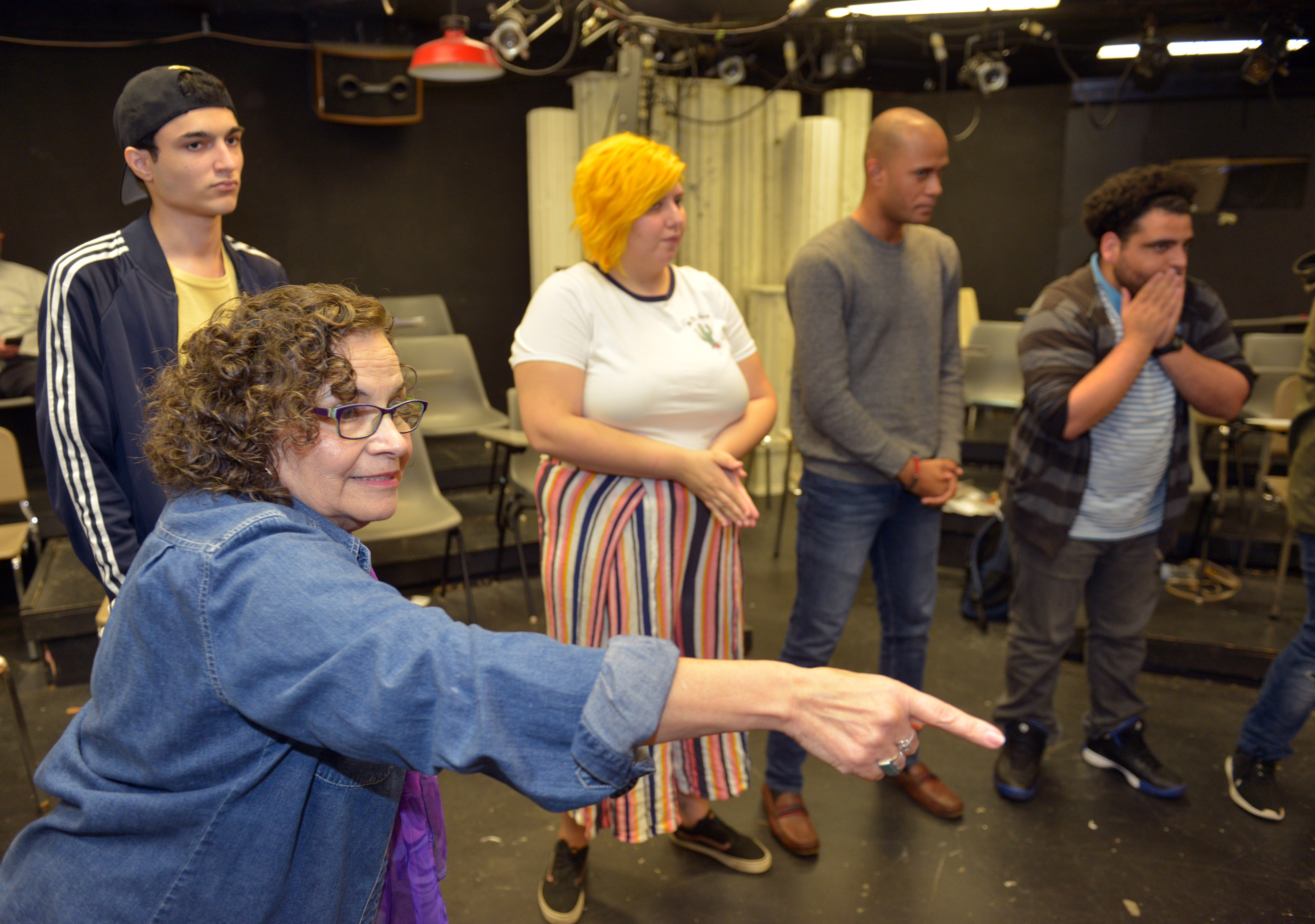 Holyoke Community College theater professor Patricia Sandoval leads students in an acting exercise during a class called Teatro Nuestro, a combination of acting and Latinx Studies.
