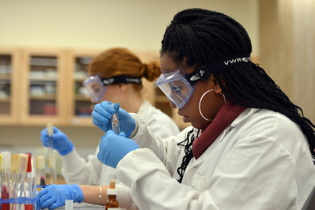 Mentorship programs at Holyoke Community College prioritize guiding students in career planning and transferring to four-year schools. These students are working in a campus microbiology lab.