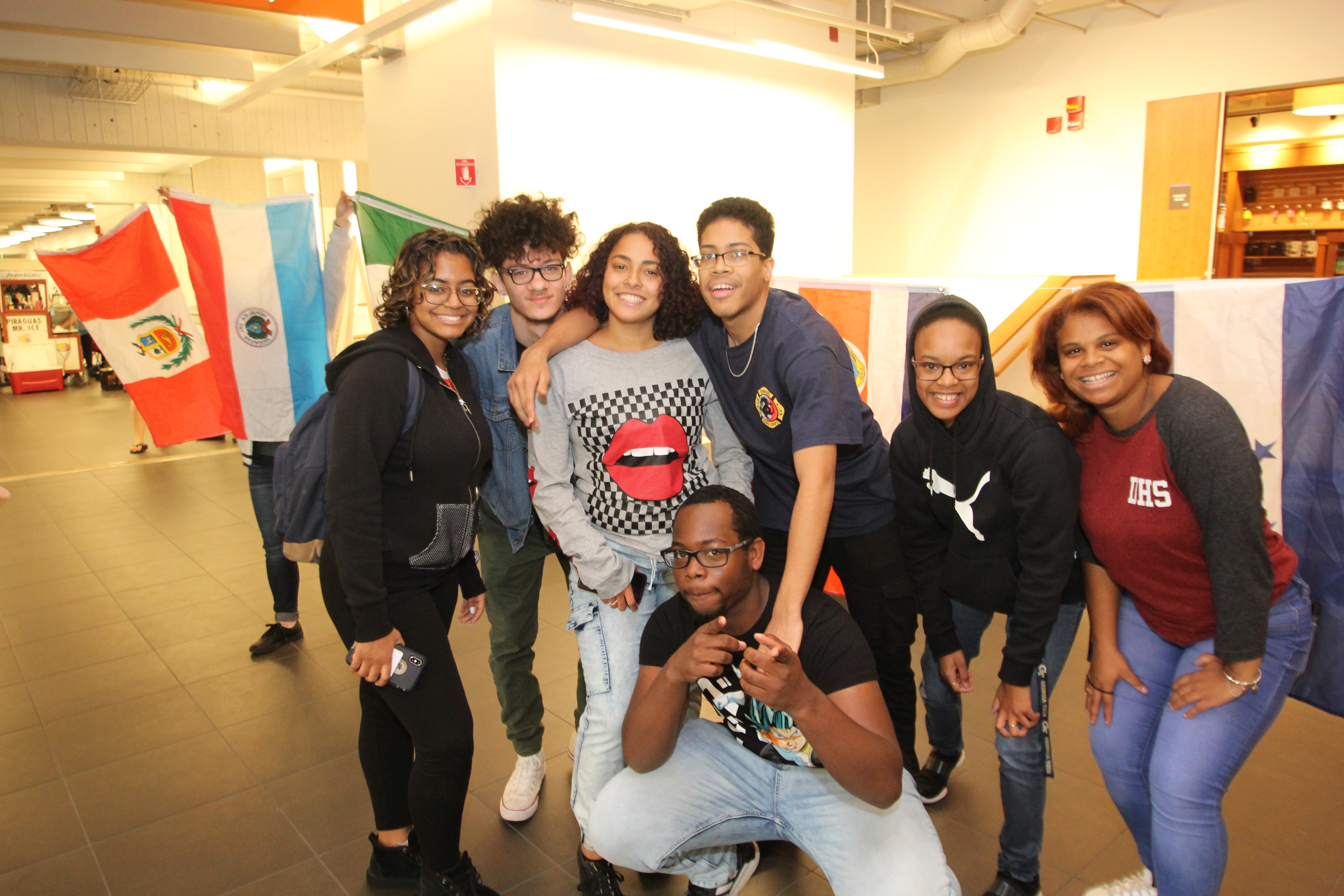 A group of students celebrate Hispanic Heritage Month during a Latinx festival at Holyoke Community College in October 2019.