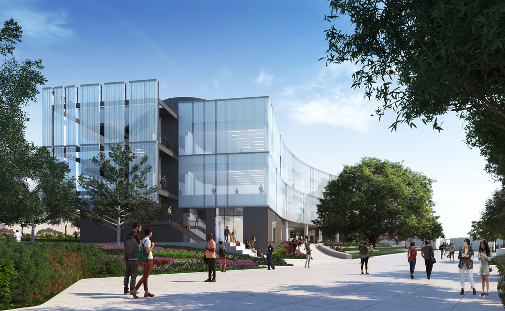 Santa Monica College's new Math and Science Building creates a new science quad and serves as an iconic campus gateway—hovering over a pedestrian passage that welcomes students and the public onto campus.