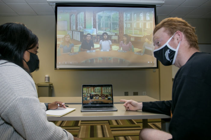 Pre-service special education teachers at the University of North Georgia interact with computer-generated avatars in a simulated scenario as part of an applied behavioral analysis course.