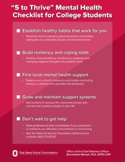 """Ohio State's """"5 to Thrive"""" mental health checklist. (Click to enlarge)"""