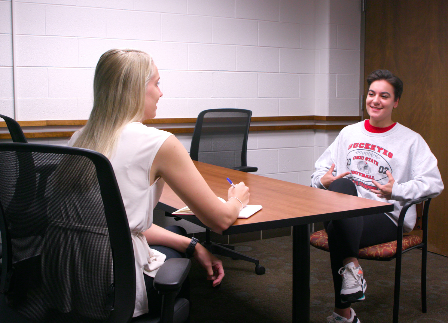 Student Mary Trabue, speaking here with an Ohio State University counselor, has learned coping mechanisms that help ease the stress and anxiety of the pandemic and virtual learning.